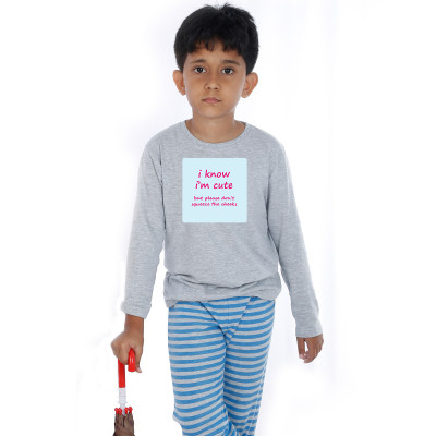 Grey Full Sleeve Boys Pyjama - Cheeky Quote